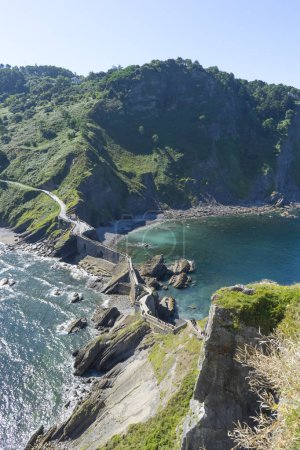 path with stairs, San Juan Gaztelugatxe island view, basque country, historical island with chapel in Northern Spain