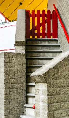 Entrance to the Cube house with stairs and small r...
