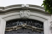 facades with doors and windows or ornaments on buildings of a historical city in south germany near munich and stuttgart