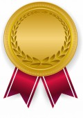 3D Gold blank medal and red ribbon Empty winner award icon Bes