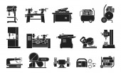 Icon collection of electric machine tools  for wood metal plastic stone