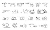 Big icon collection of power electric hand tools