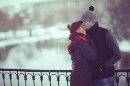 Photo for Young man and woman walking in autumn city, romantic happy couple - Royalty Free Image