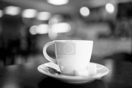 cup of coffee for breakfast in a cafe in modern interior, a European breakfast