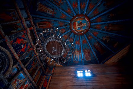 Russian wooden church, orthodox wooden architecture