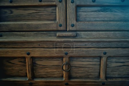 Photo for Antique oak chest of drawers, vintage furniture - Royalty Free Image