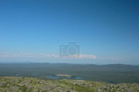 asombroso paisaje de tundra de verano, musgo verde, ecosistema