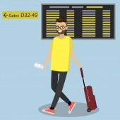Cartoon caucasian passenger with suitcase walking on the background - gate number and schedule board at the airport Hipster man with beard pulling suitcase at the airport Vector illustration