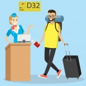 Cartoon caucasian passenger with suitcase and big backpack walking on departuresgate number and cabin crew at the airport Hipster man with beard pulling suitcase at the airport Vector illustration