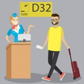 Cartoon caucasian passenger with suitcase walking on departuresgate number and cabin crew at the airport Hipster man with beard pulling suitcase at the airport Vector illustration