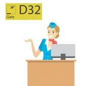Cartoon caucasian stewardess behind the counter on the landing departure concept Vector illustration