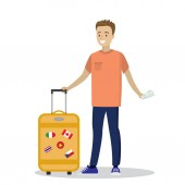 Cartoon caucasian passenger with suitcase and boarding passHappy smiling man on a journey Vector illustration
