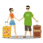 Cool couple caucasian man and woman with suitcasescartoon vector illustration