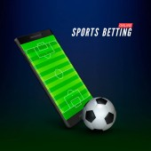Sport betting online banner concept app online bet on soccer Mobile phone with soccer field on screen and realistik football ball in front Vector illustration