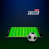 Mobile app interface for sports betting online Empty soccer field on smartphone screen Vector illustration on dark background