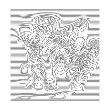 Ilustración de Movimiento ondular la superficie. Fondo de la deformación de la raya. Textura monocromática de onda distorsionada. Ilustración de vector - Imagen libre de derechos