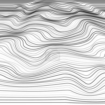 Ilustración de Fondo de la deformación de la raya. Textura monocromática de onda distorsionada. Superficie ondulada dinámica abstracta de la línea. Ilustración de vector - Imagen libre de derechos