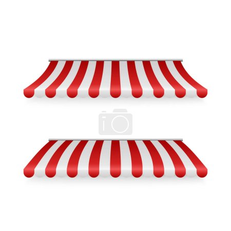 Photo for Marketplace striped roof. Awnings shadows front view. Vector illustration - Royalty Free Image