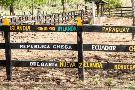 Photo for Names of countries on a gate on Ometepe island, Nicaragua - Royalty Free Image