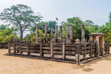 Mandapaya lamine Nissanka dans l'ancienne ville de Polonnaruwa, au Sri Lanka