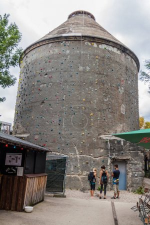 Photo for BERLIN, GERMANY - SEPTEMBER 1, 2017: Climbing tower in RAW Gelande subcultural compound in Berlin. - Royalty Free Image