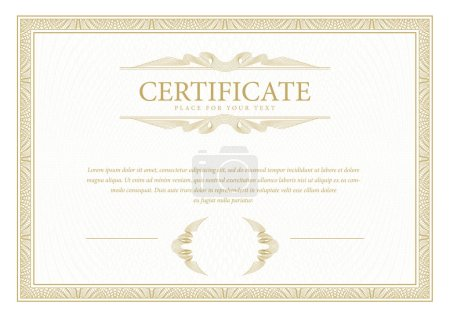 Illustration for Certificate. Template diploma currency border. Award background Gift voucher. Vector illustration. - Royalty Free Image