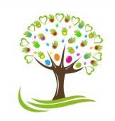 Tree hearts and hands vector logo