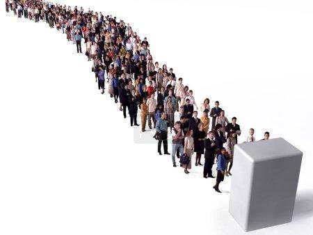 Photo pour Grand groupe de gens qui attendent en ligne - image libre de droit