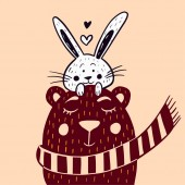 Illustration of a cute bear with a scarf and a hare rabbit