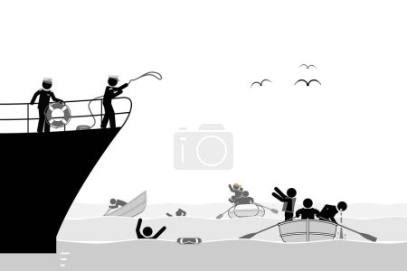 Migrants rescued from the dangerous sea....