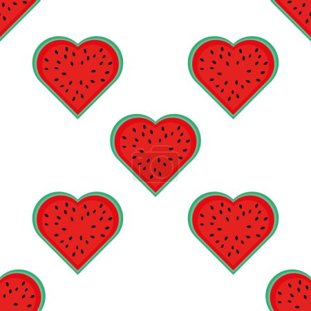 Illustration for Seamless pattern with watermelon in the shape of a heart. Summer background about love for watermelons. Suitable for decoration of summer gifts, banners and festivals. For the holiday world day watermelon. White background - Royalty Free Image
