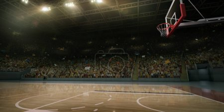 Un terrain de basket professionnel. Tribunes avec des fans de sport. Illustration 3D