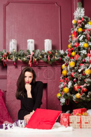 Photo for Female beautiful santa woman , christmas concept - Royalty Free Image