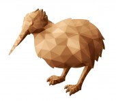Low poly illustration with brown bird kiwi