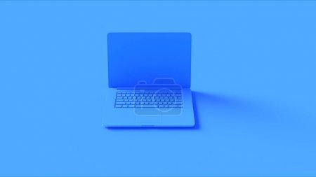 Photo pour Ordinateur portable bleu illustration 3d rendu 3d - image libre de droit