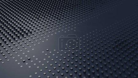 Photo pour Grille de cube bleu marine Smudged Floor Plane Arrière plan Illustration 3d rendu 3d - image libre de droit