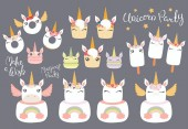 set of desserts with cute funny unicorn faces and lettering quotes Concept children print vector illustration