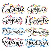 Set of hand written calligraphic lettering quotes with Latin American countries names and decorative ornaments vector illustration