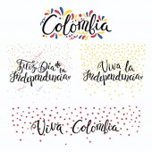 Set of hand written calligraphic Spanish lettering quotes for Colombia Independence Day with stars and confetti in flag colors vector illustration