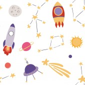 hand drawn seamless pattern in scandinavian style with space elements vector illustration