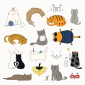 Set of hand drawn cute funny color doodles of cats isolated on white background Design concept for children print