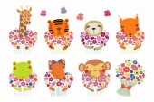 Set of cute funny little animals with flowers Scandinavian style flat design  Concept for children print