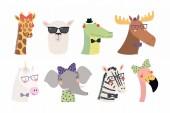 Set of cute funny trendy animals Scandinavian style design Concept for children print