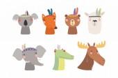 Set of cute funny little tribal animals Scandinavian style flat design Concept for children print