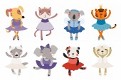 Set of cute funny little animals in ballerinas dress Scandinavian style flat design Concept children print