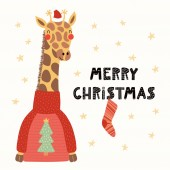 Hand drawn vector illustration of a cute funny giraffe in a Santa Claus hat and sweater with text Merry Christmas Scandinavian style flat design Concept for children card