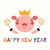 Hand drawn vector illustration of a cute funny pig in crown with sparklers and text Happy new year Scandinavian style flat design Concept for card