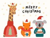 Hand drawn vector illustration of cute animals in Santa hats and sweaters with text Scandinavian style flat design Concept Christmas card