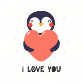 Hand drawn Valentines day card with cute funny penguin holding heart and text I love you Isolated on white background Vector illustration Scandinavian style flat design Concept children print