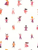 Hand drawn seamless pattern with diverse women vector illustration Concept for feminism and women day